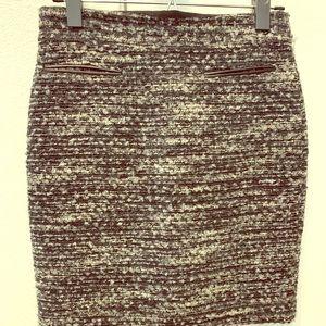 ANN TAYLOR wool tweed grey/black pencil skirt
